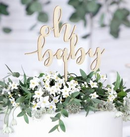PartyDeco PartyDeco Houten Cake Topper - Oh Baby