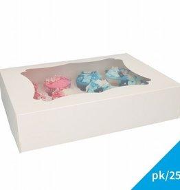 FunCakes Cupcake Doos 12 - Blanco pk/25