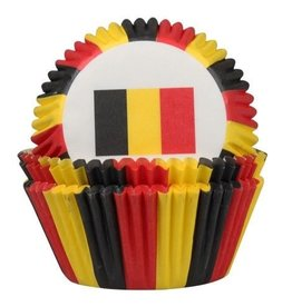 House of Marie House of Marie Baking Cups Belgische Vlag pk/50