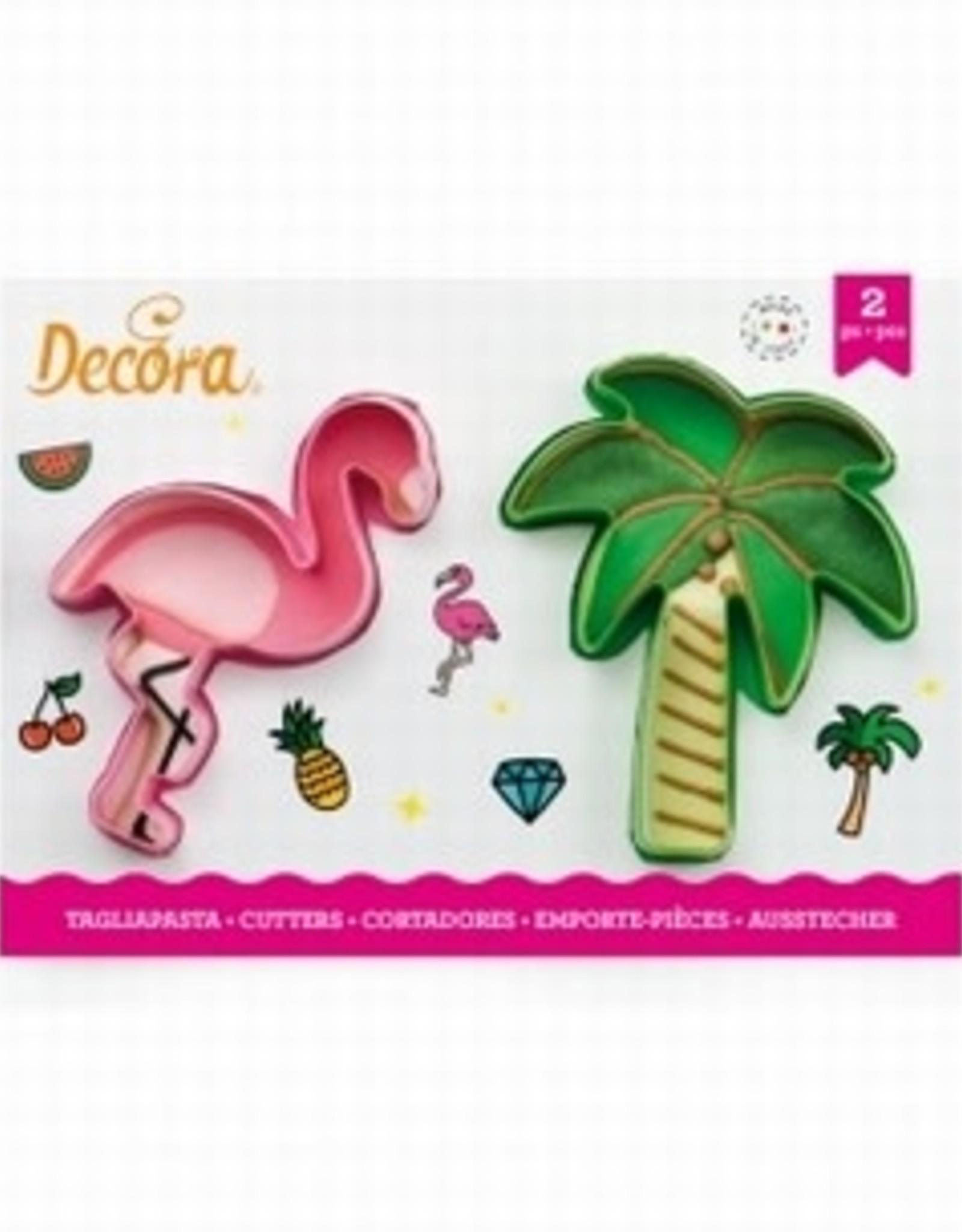 Decora Decora Plastic Uitstekerset Flamingo en Palmboom / 2