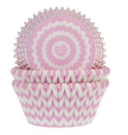 House of Marie House of Marie Baking Cups Chevron Roze pk/50