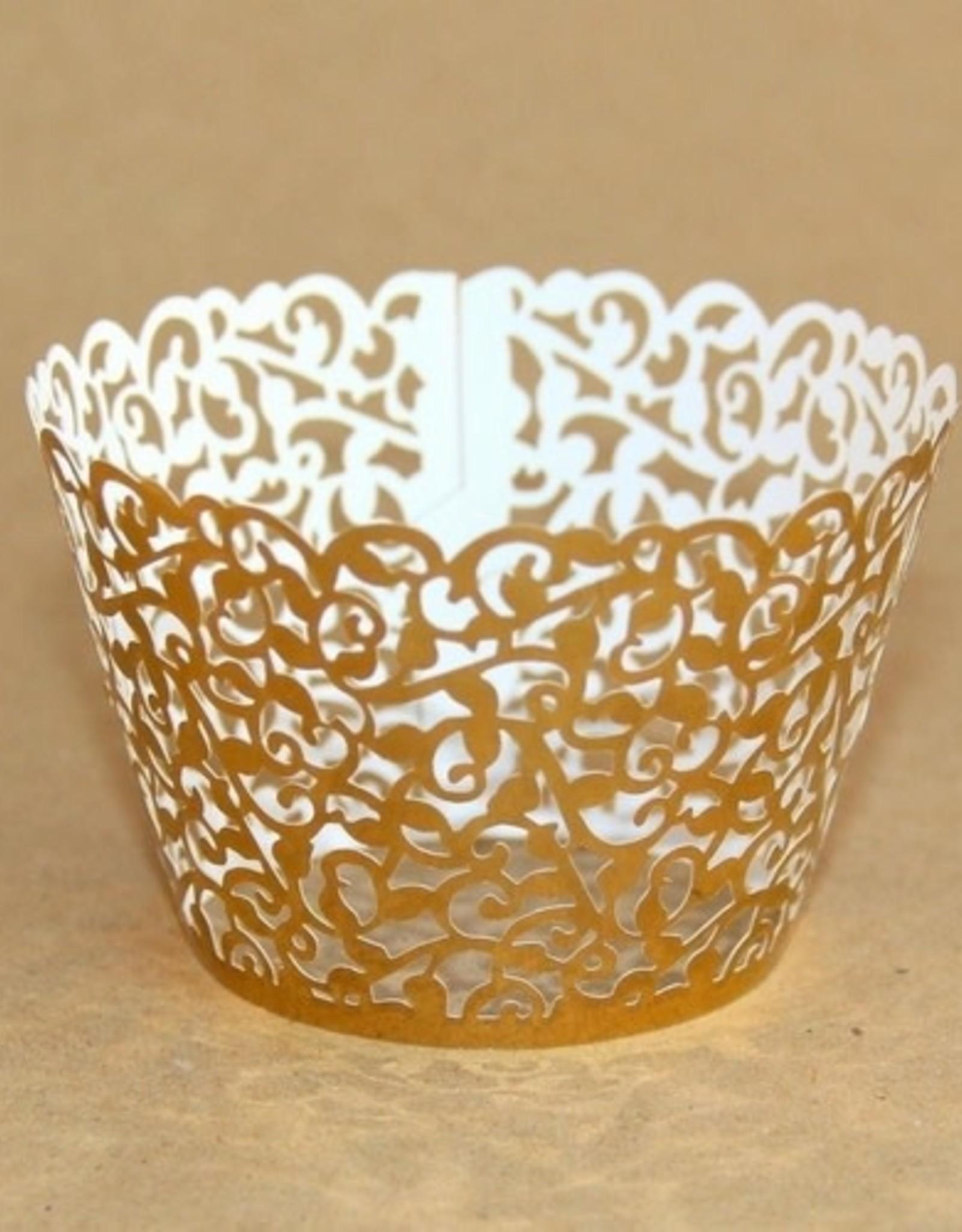 Cupcake Wraps Filigraan Goud pk/25