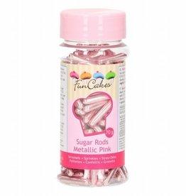 FunCakes Metallic Sugar Rods XL -Pink- 70g