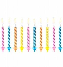 PartyDeco PartyDeco Verjaardag Kaarsen Gekleurd pk/10