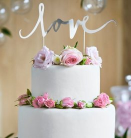 PartyDeco PartyDeco Cake Topper Love - Zilver