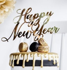 PartyDeco PartyDeco Cake Topper Happy New Year - Goud