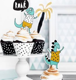 PartyDeco PartyDeco Cake Toppers Dinosaurs 15,5-20cm Set/5