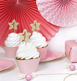 PartyDeco PartyDeco Cupcake Toppers 1st Birthday Gouden Sterren Set/6