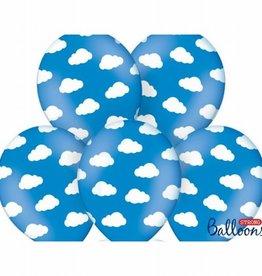 PartyDeco Ballonnen Wolken Blauw pk/6