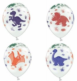 PartyDeco PartyDeco Ballonnen Dinosaurs Pastel Wit pk/6