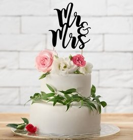 PartyDeco PartyDeco Cake Topper Mr&Mrs - Zwart