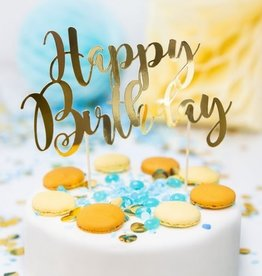 PartyDeco PartyDeco Cake Topper Happy Birthday - Goud
