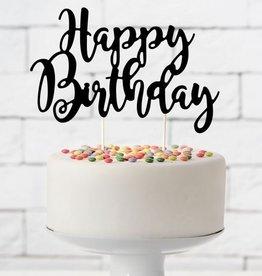 PartyDeco PartyDeco Cake Topper Happy Birthday - Zwart