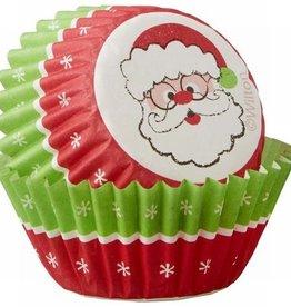 Wilton Wilton Mini Baking Cups Merry & Bright Santa pk/100