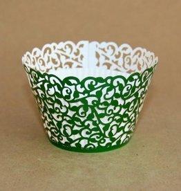 Cupcake Wraps Filigraan Glanzend Groen pk/12