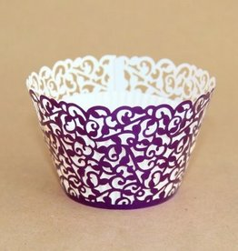 Cupcake Wraps Filigraan Glanzend Violet pk/12