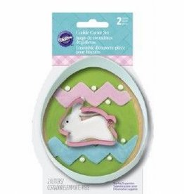 Wilton Cookie Cutter Set Egg with Bunny set/2