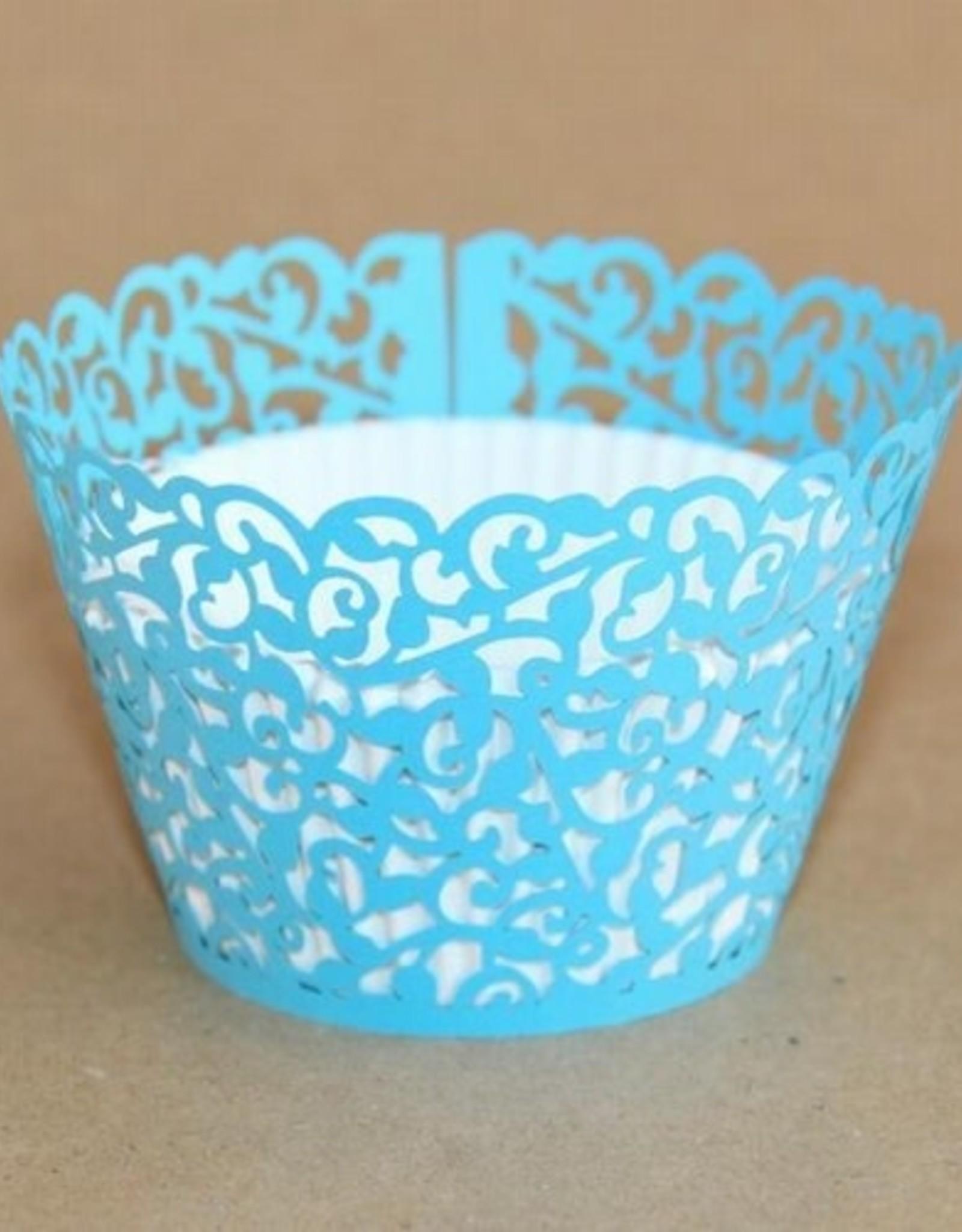 Cupcake Wraps Filigraan Hemels Blauw pk/12