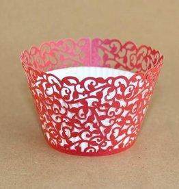Cupcake Wraps Filigraan Rood pk/12