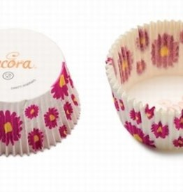 Decora Baking Cups Fuchsia Flower 50X32mm/75
