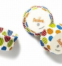 Decora Baking Cups Blue Rings 50X32mm/75