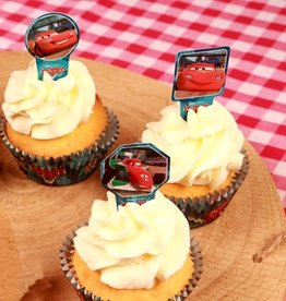 Stor Stor Papieren Cupcake Toppers Cars pk/24