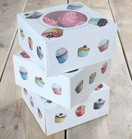 FunCakes Cupcake Doosje 4 Cupcakes 17x17x8cm + insert pk/3
