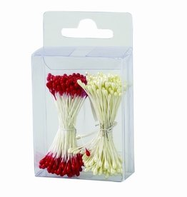 Decora Pistils For Flowers Pearl White/Red, 288st.