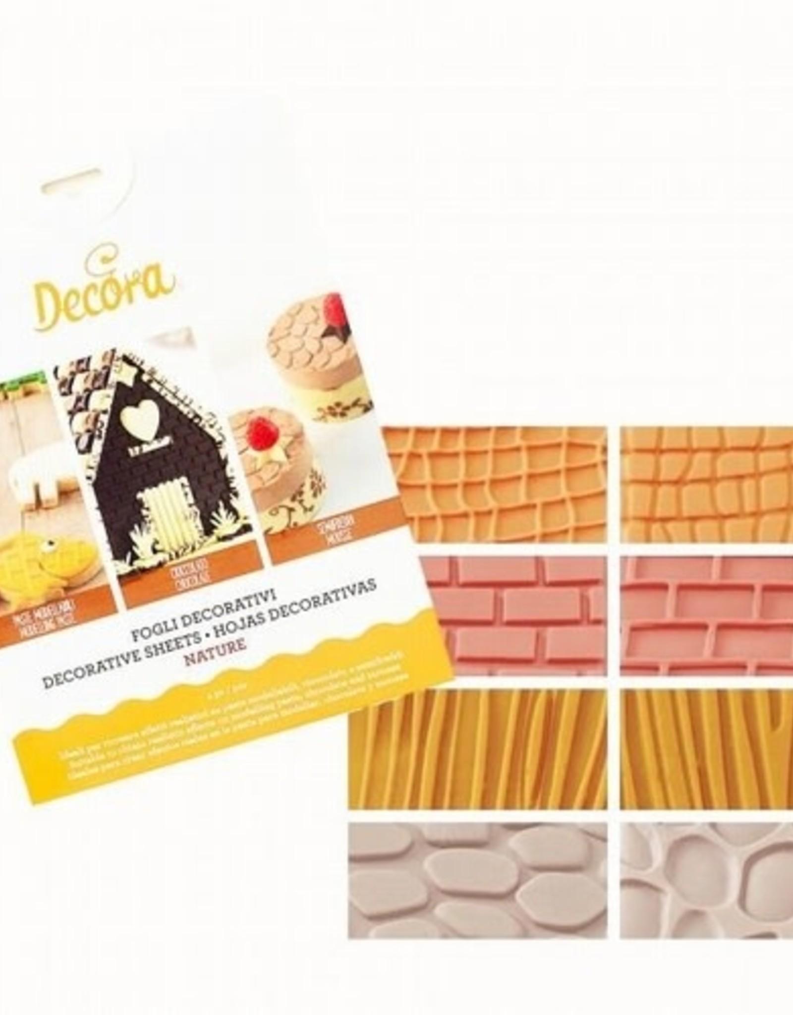 Decora Decora Decorative Sheets Set/4 Wall/Wood/Stone/Leather