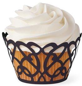 Wilton Wilton Cupcake Wraps Black Swirls pk/18