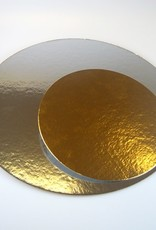 Cake Card Round Gold/Silver Ø16cm Set/12