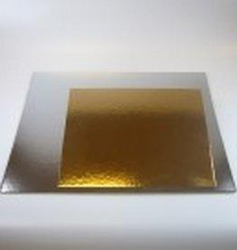 FunCakes Taartkartons Zilver/Goud Vierkant 25cm, 3 st.