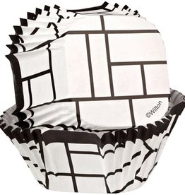Wilton Square Baking Cup-Black/White Block- pk/24