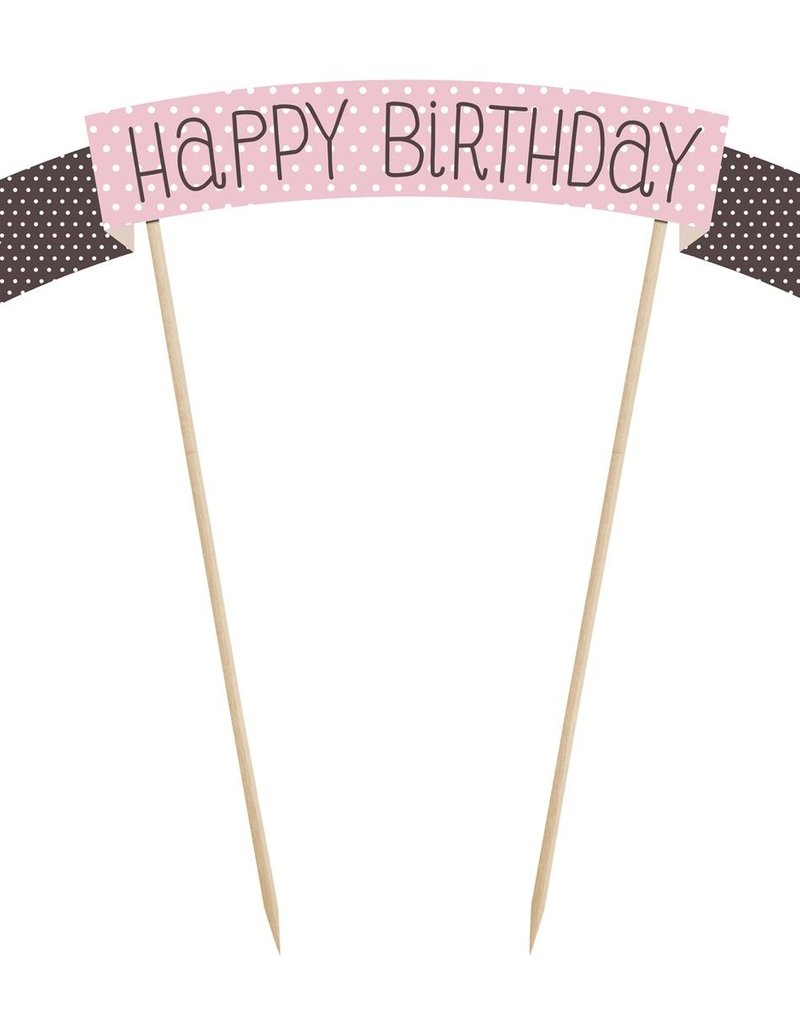 PartyDeco PartyDeco Cake Topper Sweets - Happy Birthday