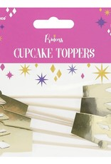 PartyDeco PartyDeco Cupcake Toppers Prinsessenkroon Set/6