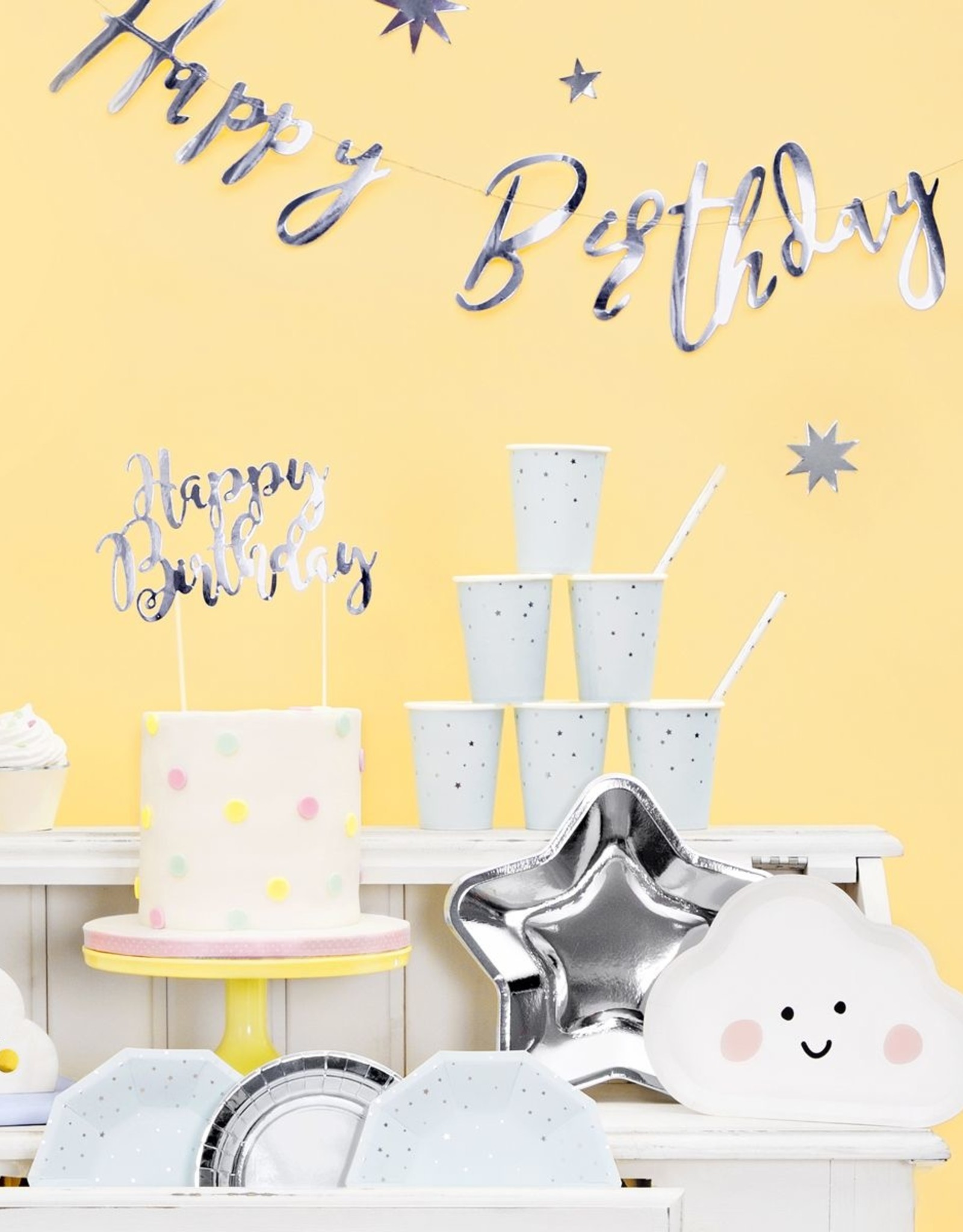 PartyDeco PartyDeco Cake Topper Happy Birthday - Zilver