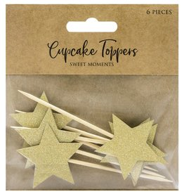 PartyDeco PartyDeco Cupcake Toppers Sterren - Goud Set/6