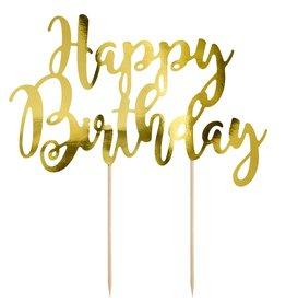 PartyDeco PartyDeco Cake Topper Happy Birthday - Goud
