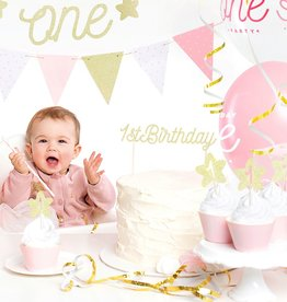 PartyDeco PartyDeco Cake Topper 1st Birthday - Goud