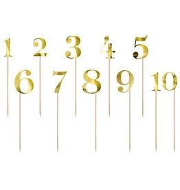 PartyDeco PartyDeco Cake Toppers Tafelnummers - Goud Set/11