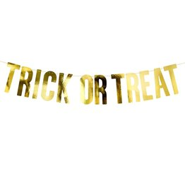PartyDeco PartyDeco Banner - Trick or Treat, Goud