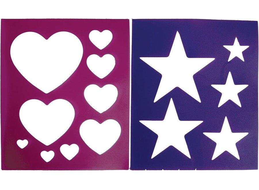 Borstelpatroon hartjes sterren motief