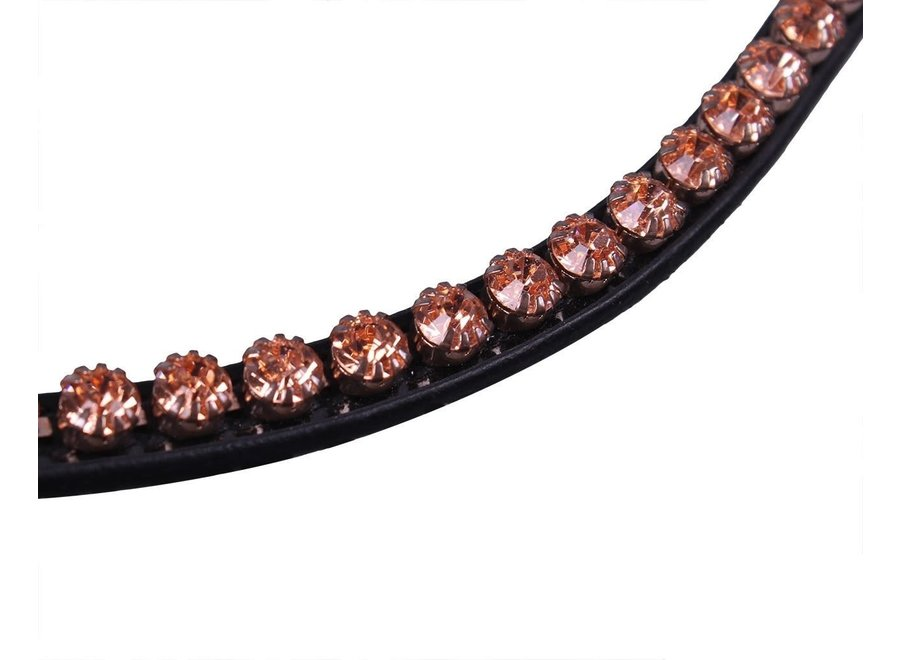 Frontriem Dianthus zwart/roze Cob