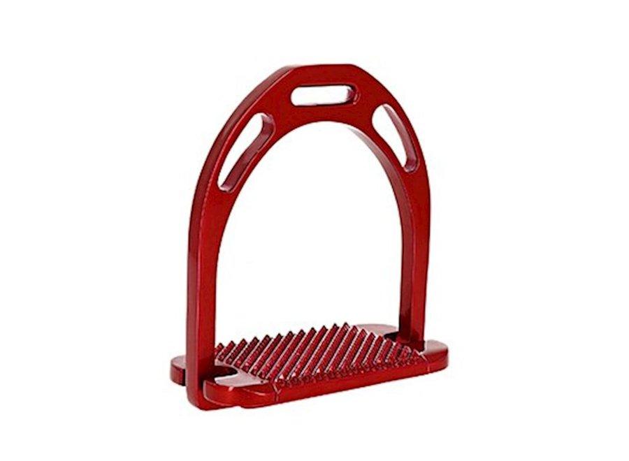Large Pro aluminium stijgbeugels rood 12.5cm
