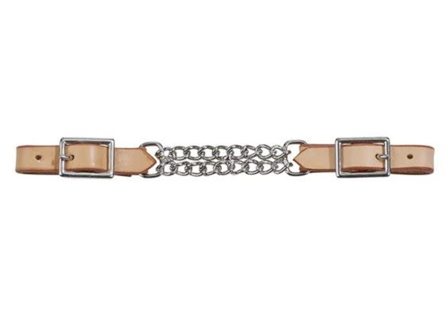 Kinketting Curb Chain Leather chestnut