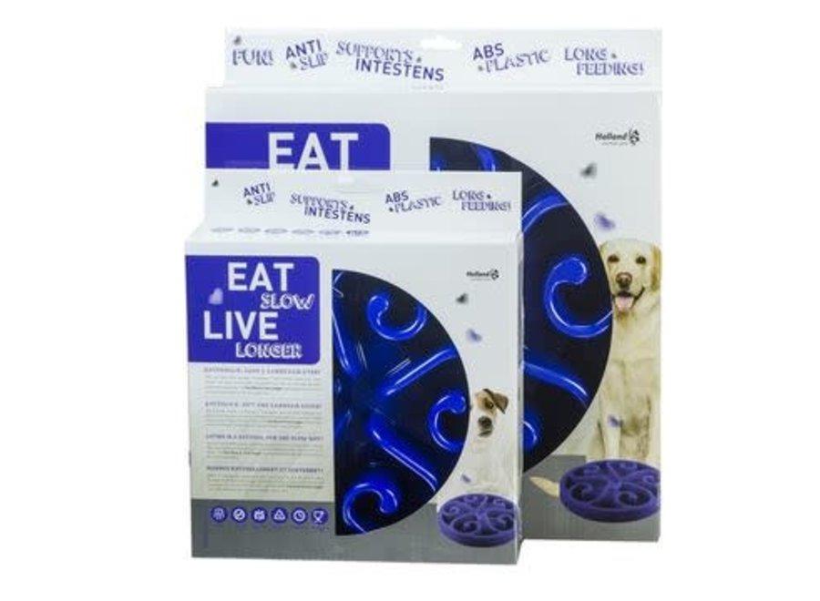 Eetbak hond Eat Slow Live Longer Blauw small