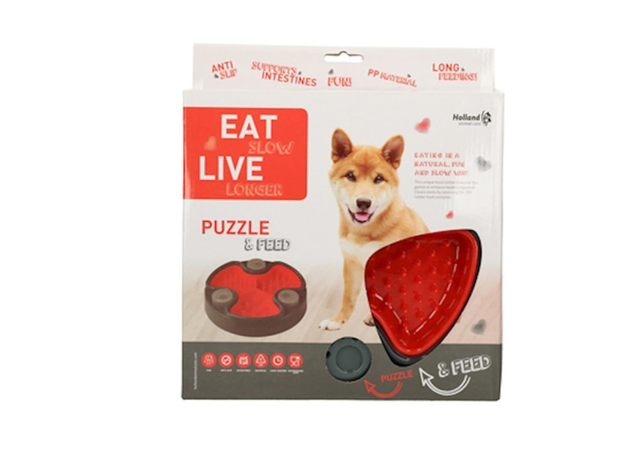 Eetbak hond Eat Slow Live Longer Puzzle and Feed Rood