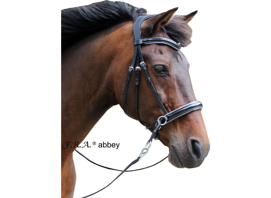 Abbey hoofdstel glans met teugels  zwart/zwart leder