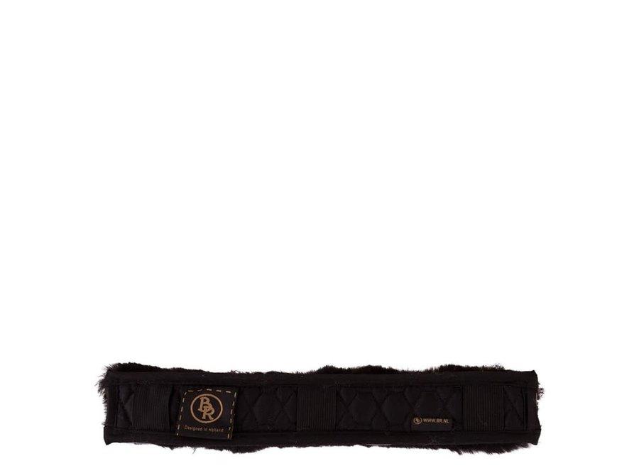 Hoofdriembeschermer  bont  3cm breed Zwart/Zwart 32 cm