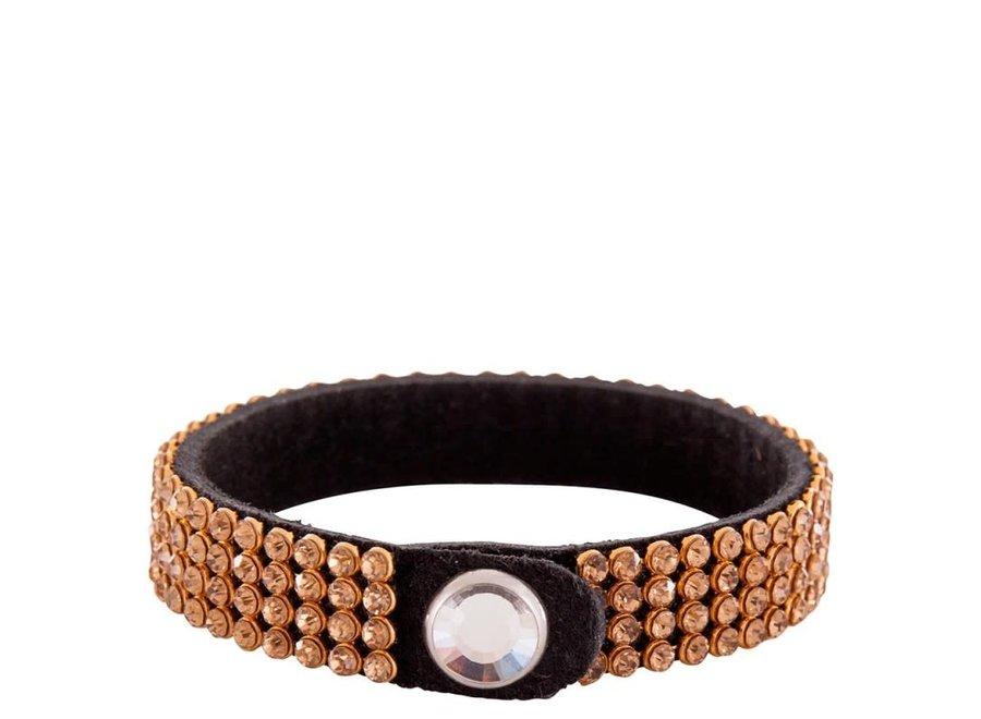 Armband BR crystallized w/Rhinestone button Goud